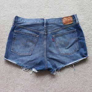 LEVI'S High Rise Cutoff Jean Shorts Blue 32
